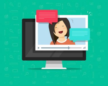Video chatting online on computer vector illustration, flat video player window with speaking happy girl and bubble speeches messages on desktop pc, concept of on-line chat app, internet talk