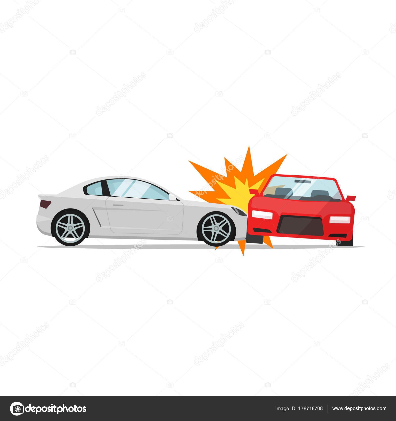 Auto-Crash-Vektor, Kollision von zwei Autos, Auto-Unfall-Szene ...