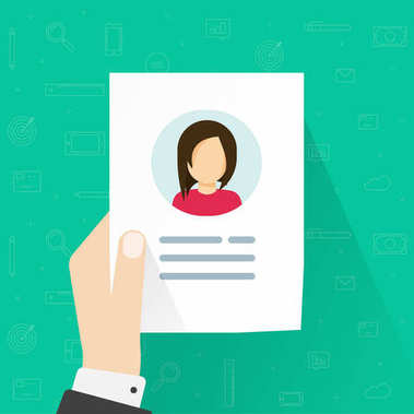 Personal info data icon vector illustration isolated, flat cartoon of user or profile card details in reviewer hand, account idea, identity document or cv with person photo and text clipart