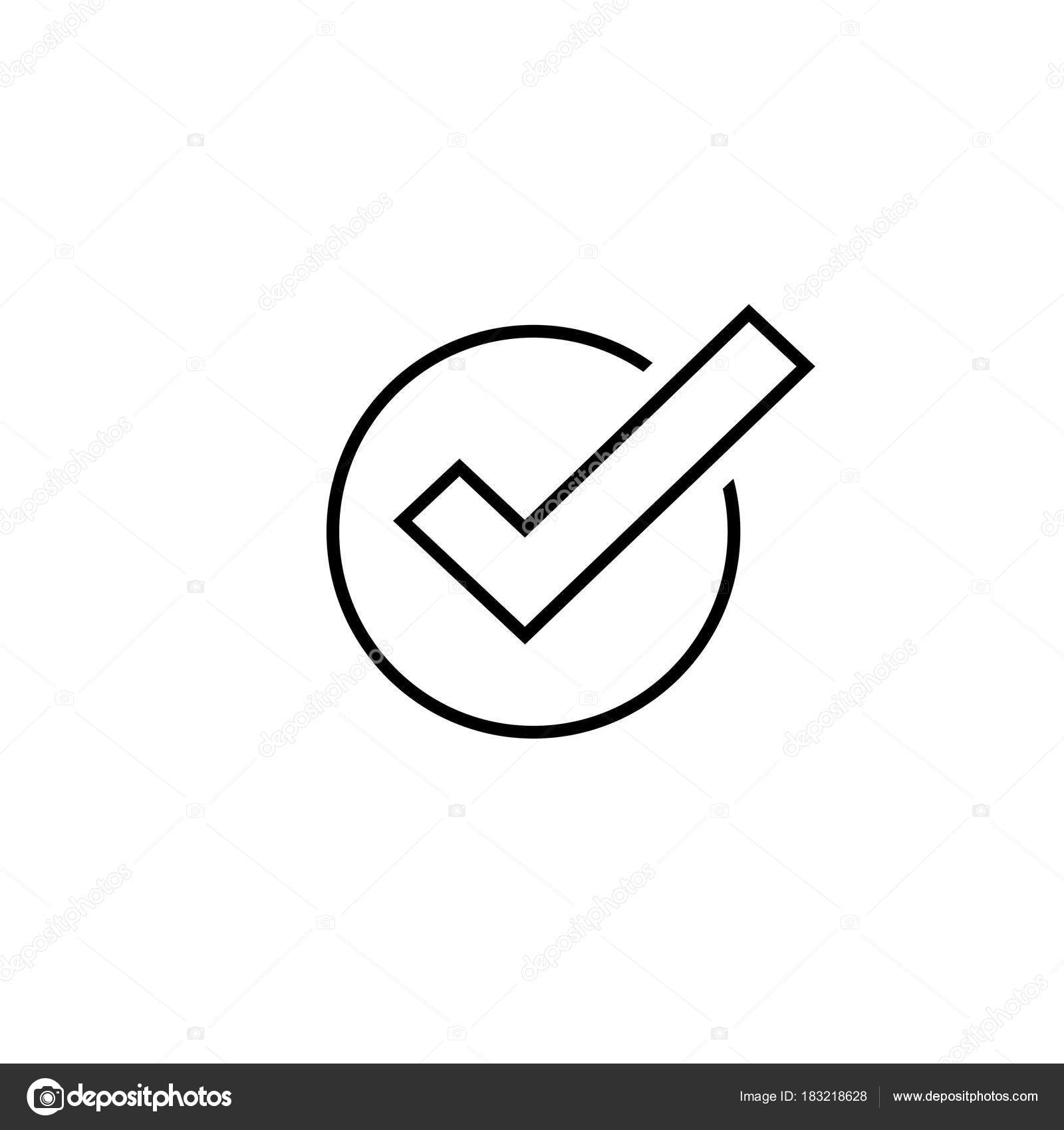Tick icon vector symbol line art outline checkmark isolated tick icon vector symbol line art outline checkmark isolated on white background checked icon or correct choice sign check mark or checkbox pictogram biocorpaavc Gallery