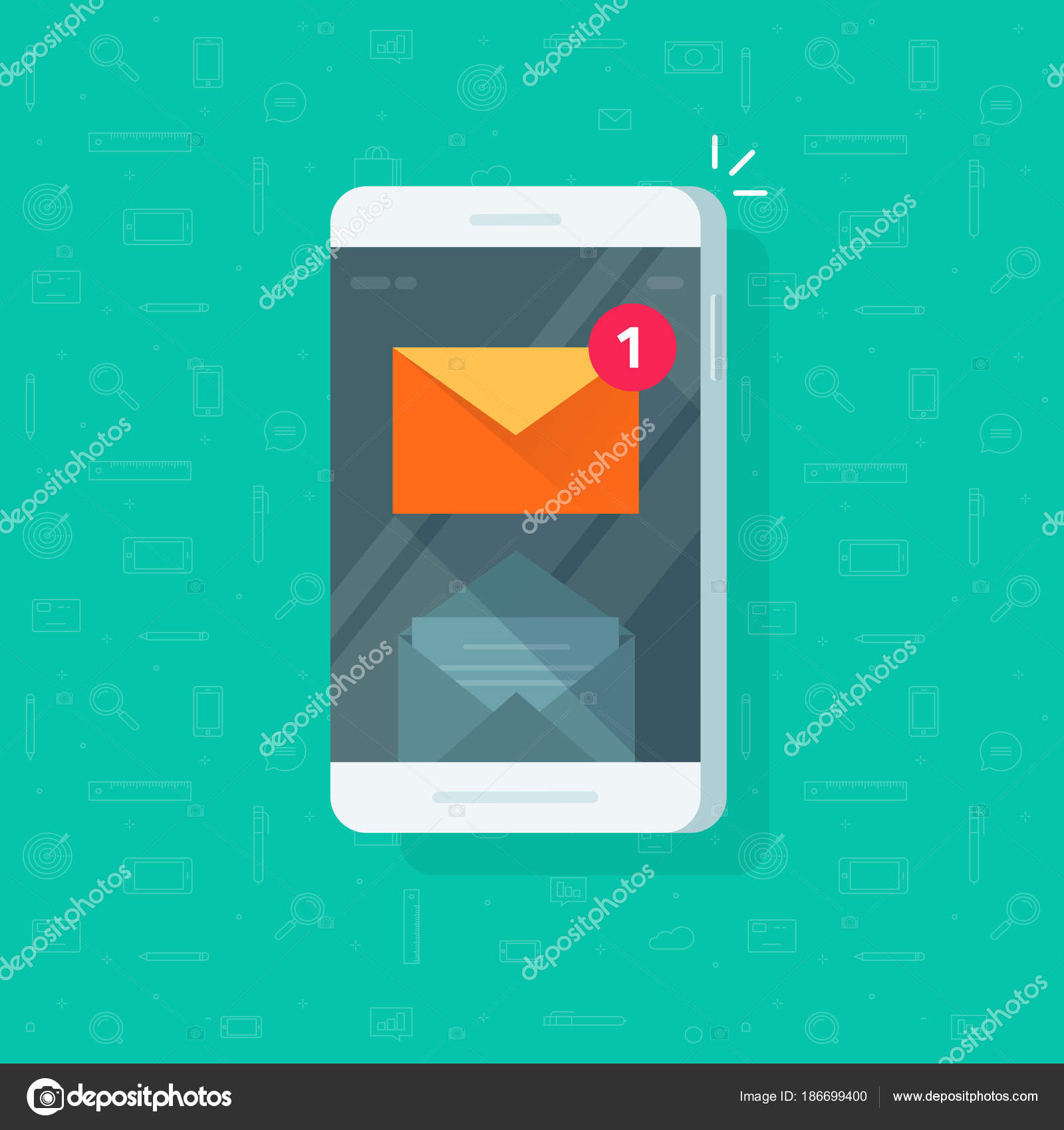 New email notification on mobile phone vector illustration, flat