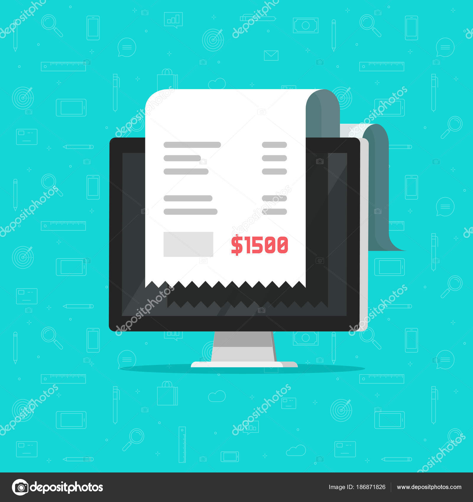 computer and receipt vector illustration cartoon big bill tax or