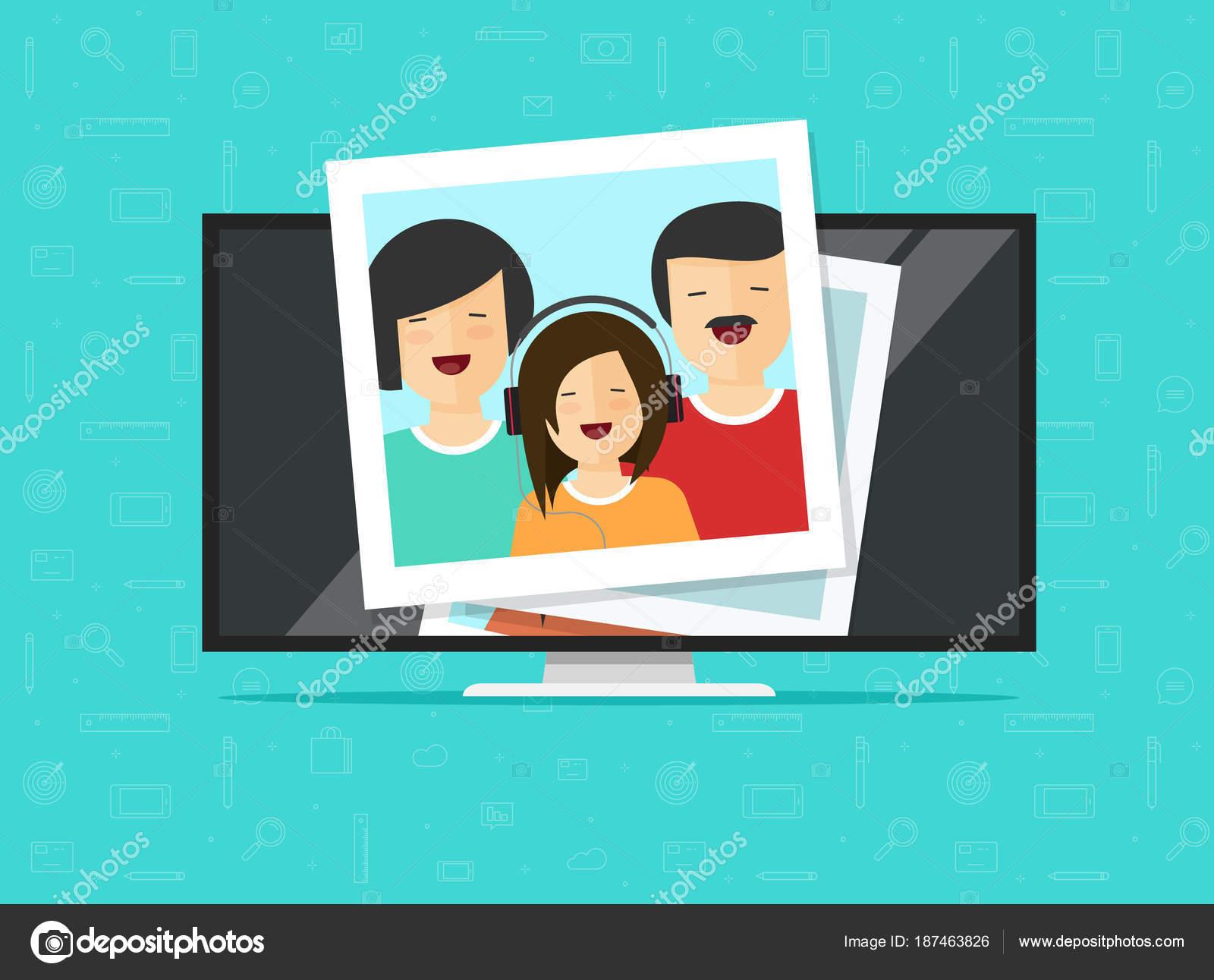 テレビ薄型写真カードとベクトル イラスト、フラット漫画コンピューター