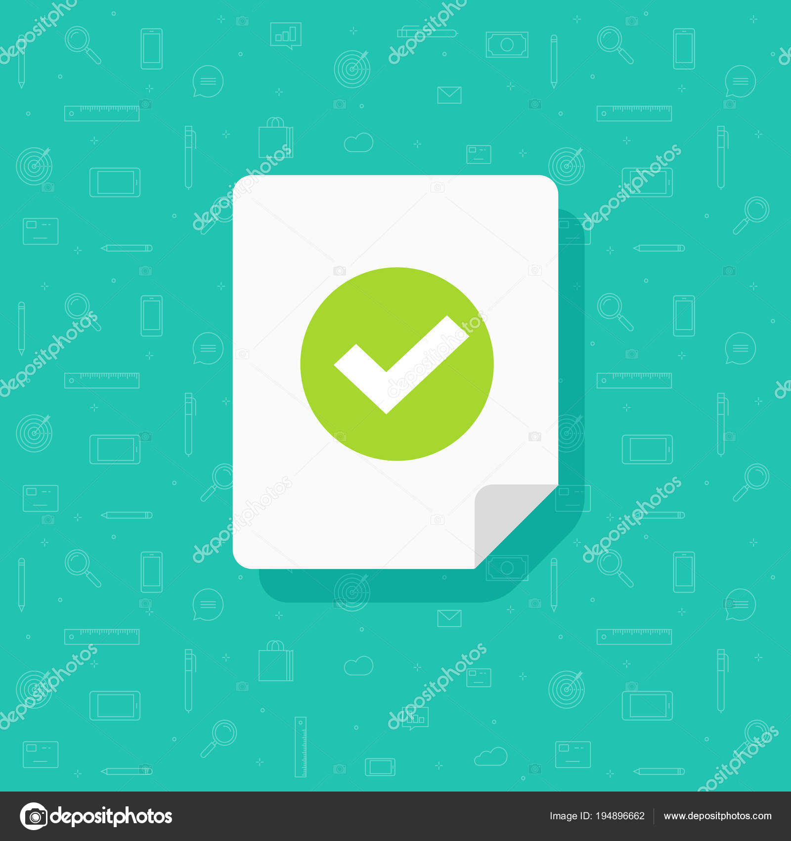 document and checkmark vector icon flat cartoon paper doc page with