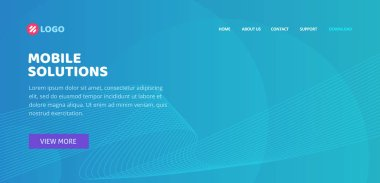 Website landing page layout design or web page banner template with blue abstract background and lines vector, modern trendy backdrop graphic for flyer poster or cover idea image