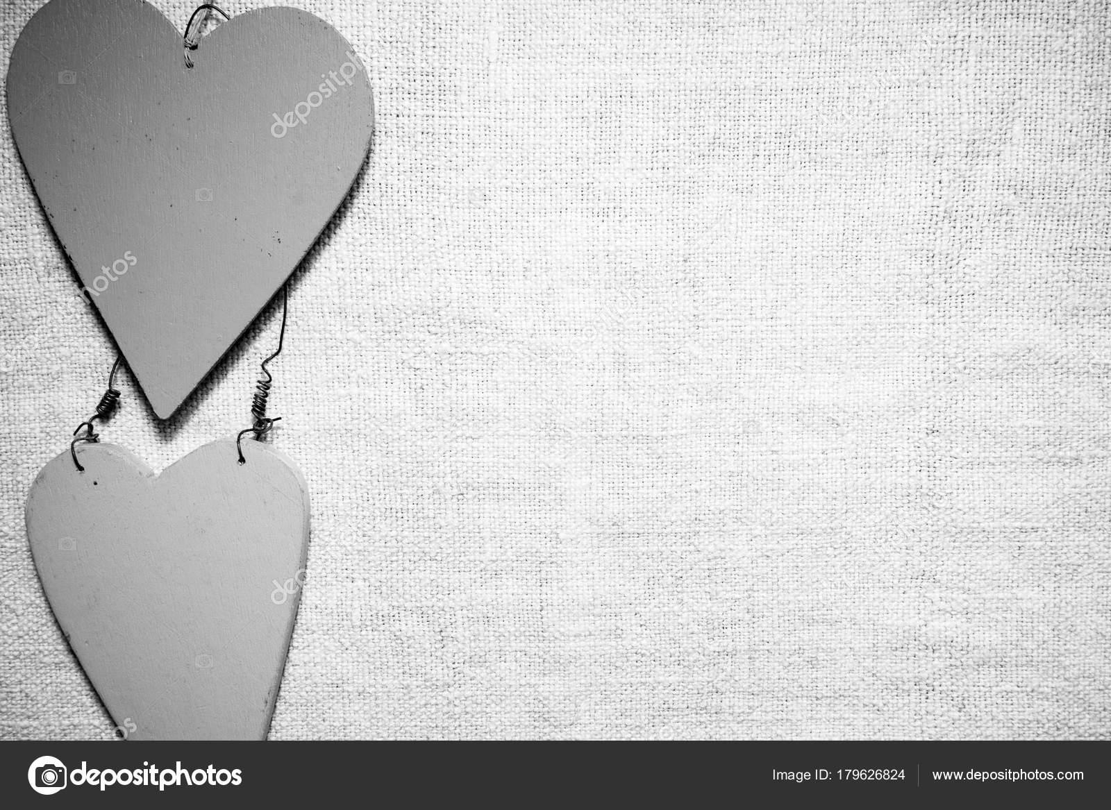 Corazones De Amor Estilo Vintage Blanco Y Negro Sobre Fondo Con