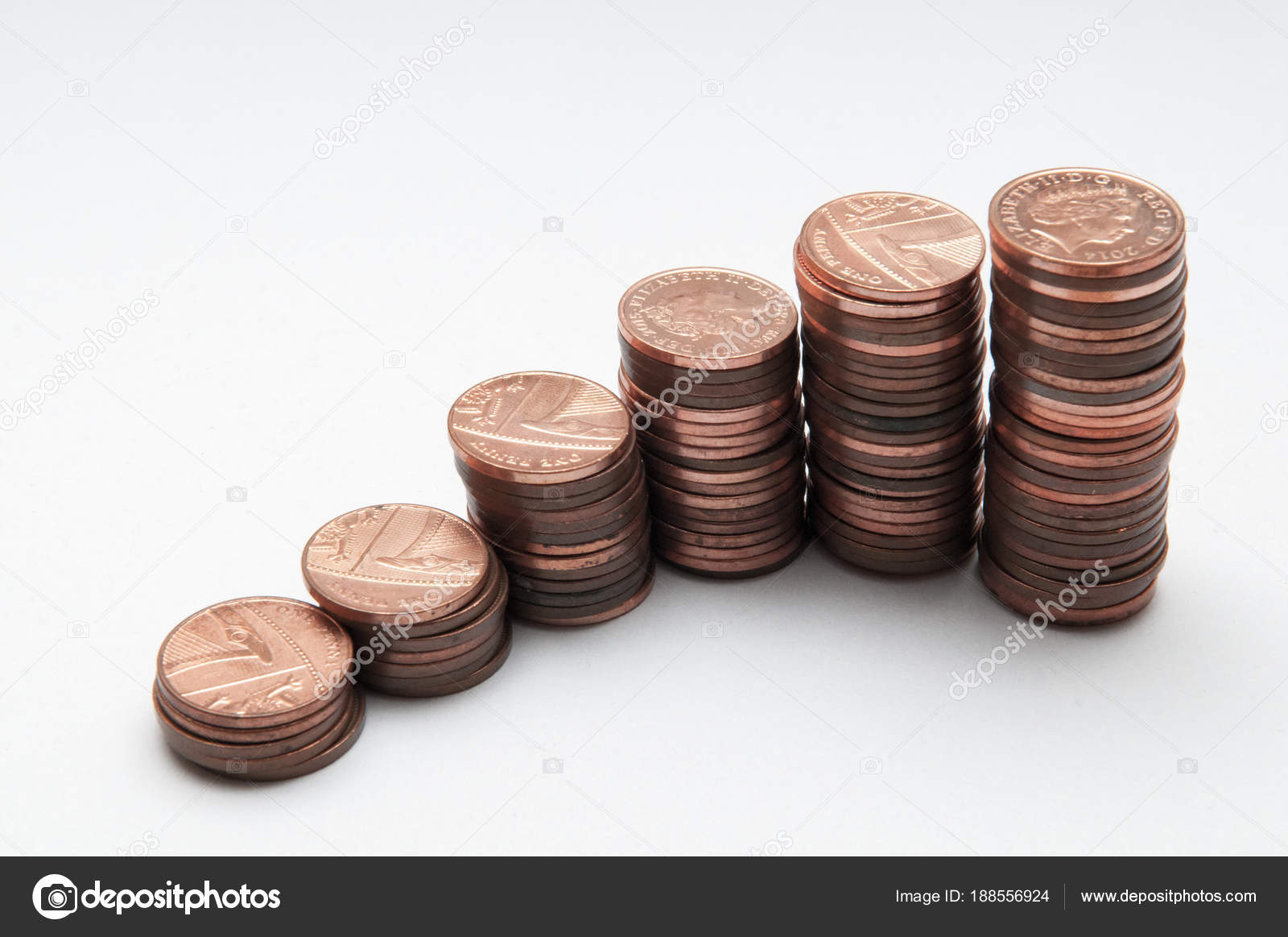 Stack of coins, one penny coins isolated on white — Stock Photo
