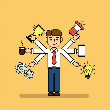 Isolated multitasking businessman. Talented funny man with six hands. Loudspeaker, idea, coffee, golden cup, gear and smartphone. stock vector