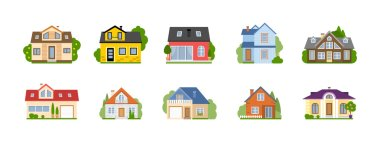Isolated cartoon houses set. Simple suburban houses. Concept of real estate, property and ownership. stock vector