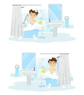Man takes shower set.