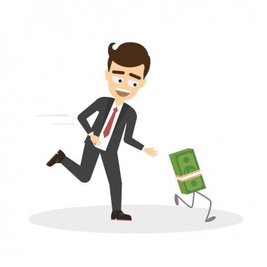Businessman chase money.