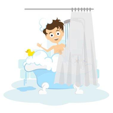 Man takes shower.