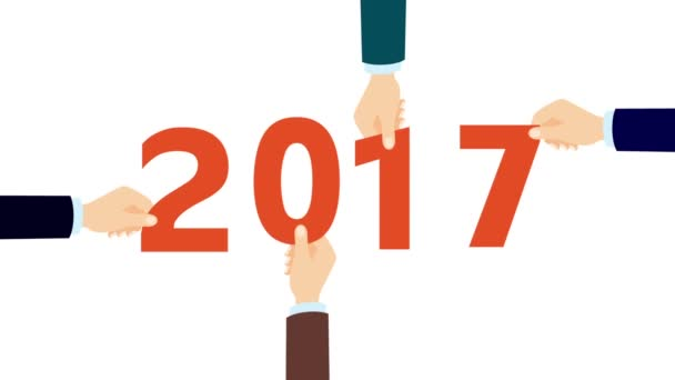 Flat design hand holding 2017, new year concept.