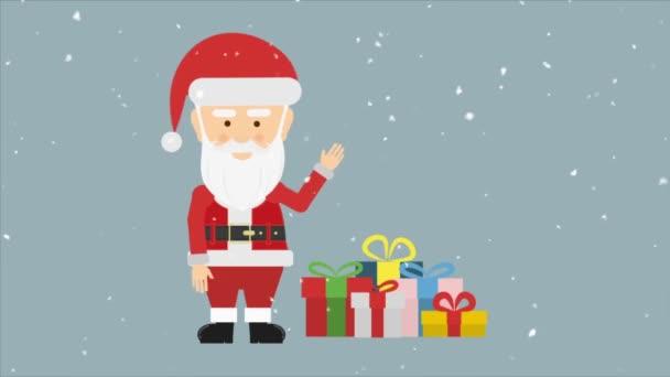 Santa claus mávající ruka