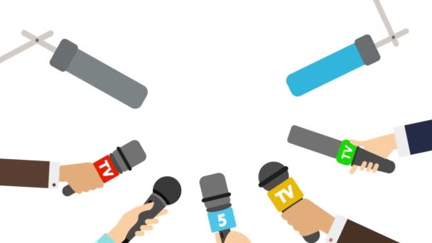 Journalists with microphones on white background  Breaking news concept  TV  and radio broadcasting  Live