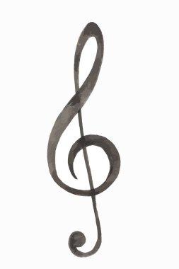 Watercolor treble clef.