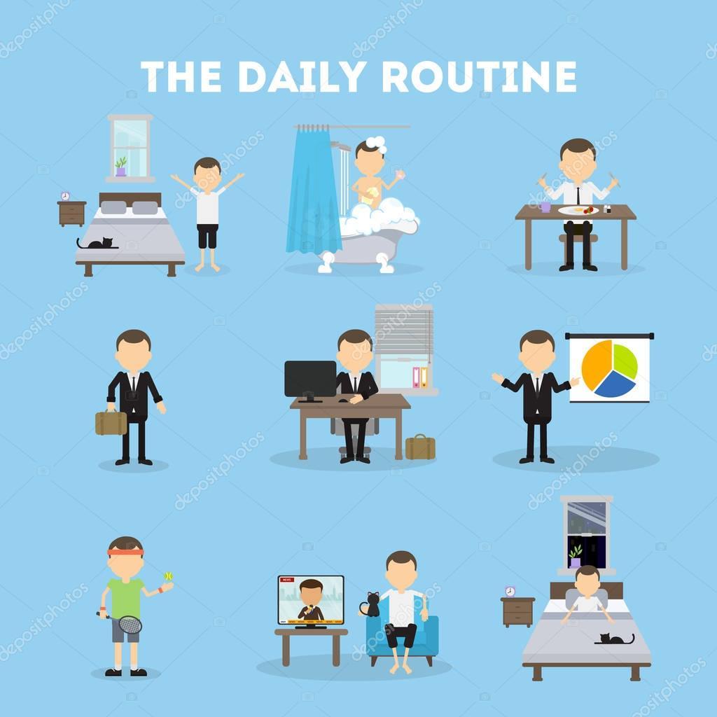 La rutina diaria — Vector de stock © inspiring.vector ...