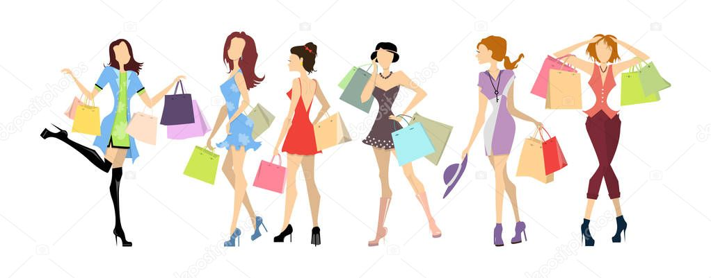 e9c391f85 Shopping women set. Elegant, young and slim women in different outfits with  colorful shopping bags on white background. — Vector by inspiring.vector.gmail.  ...