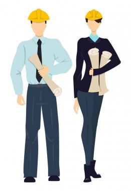 Isolated professional engineers. Male and female workers standing on white background in hardhats with plans. stock vector