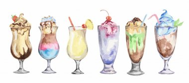 watercolor cocktails set.