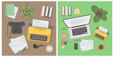 Writer desk mockup set.