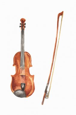Isolated watercolor violin.