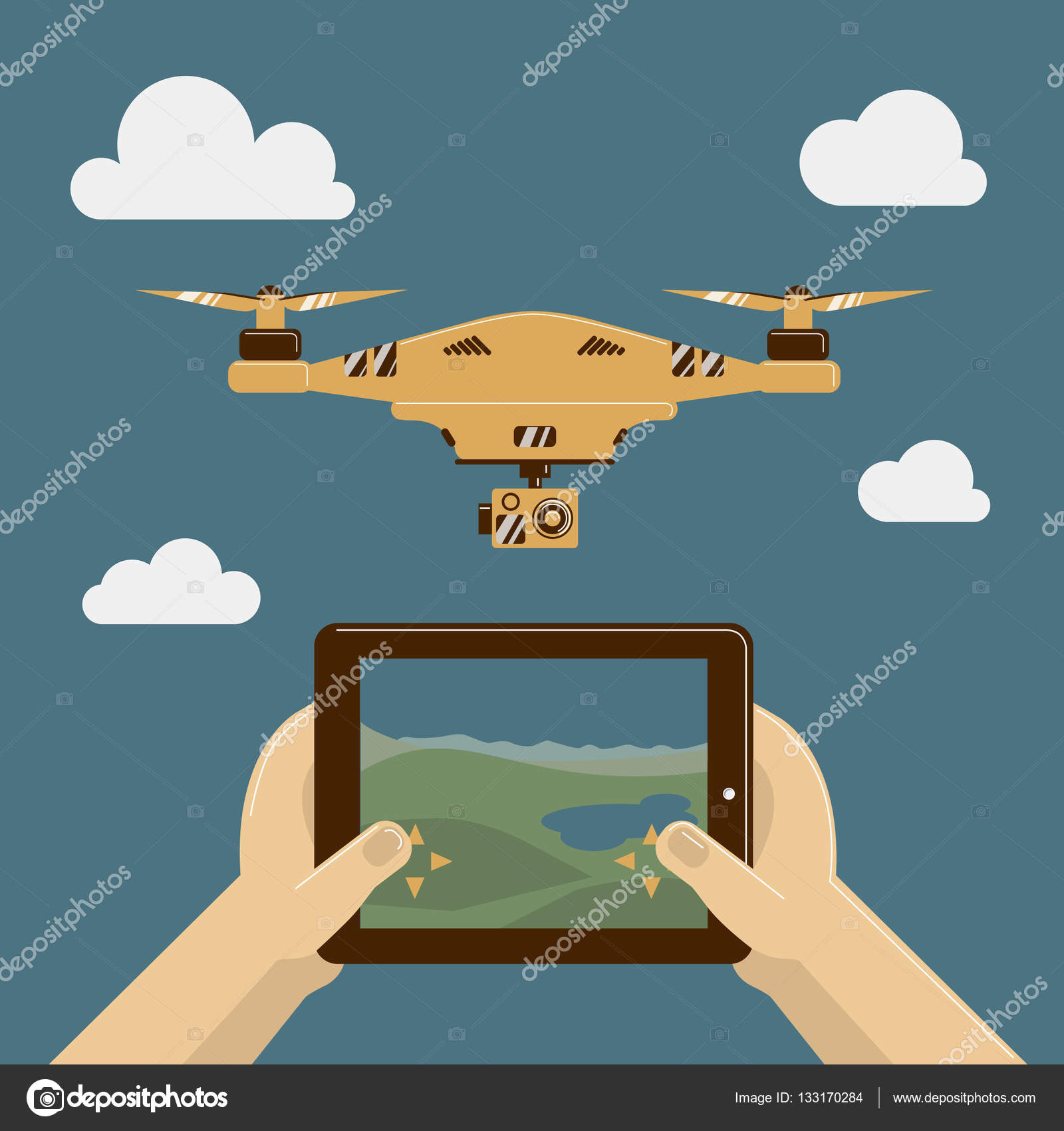 Vector Illustration with drone and remote control on tablet