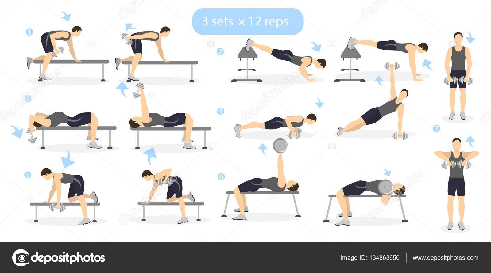 Wspaniały Zestaw ćwiczeń siłownia — Grafika wektorowa © inspiring.vector LG23