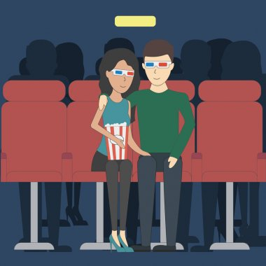 Romantic dating in cinema. Young happy couple in 3d glasses watching film with popcorn. clip art vector