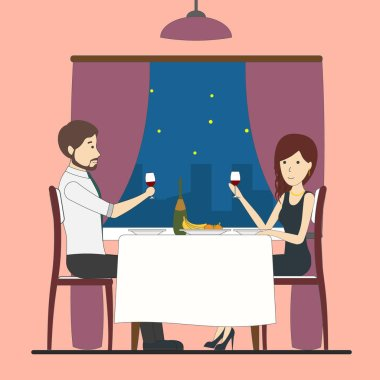 Romantic dating in restaurant.