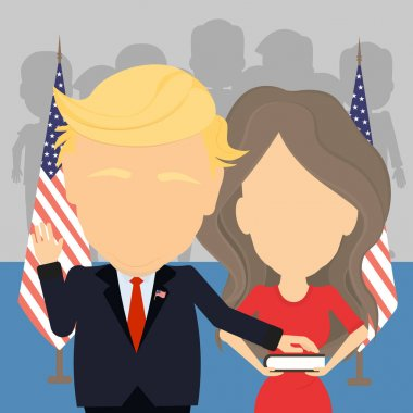 Russia December. 26, 2016 Donald Trump with wife Melania. New american president and First lady of the United States in inauguration.