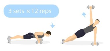 Plank exercise with weights.