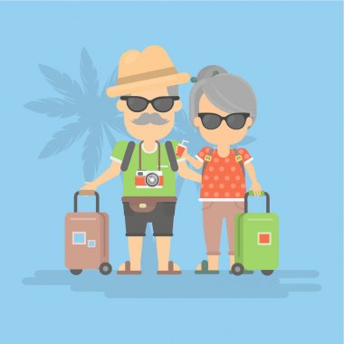Retired couple on vacation.