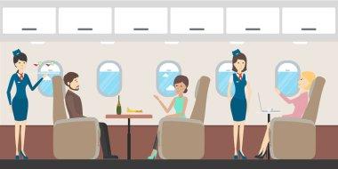 Airplane business interior.