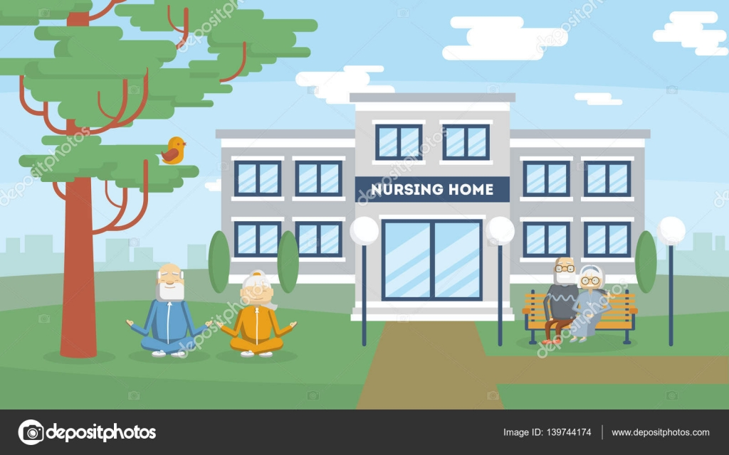 Nursing Home Building Stock Vector