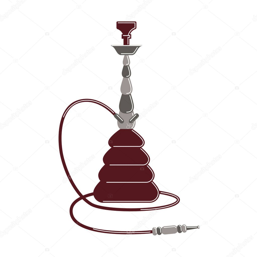 Isolated hookah on white.