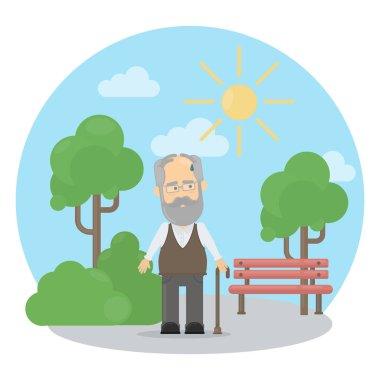 Old man outside.
