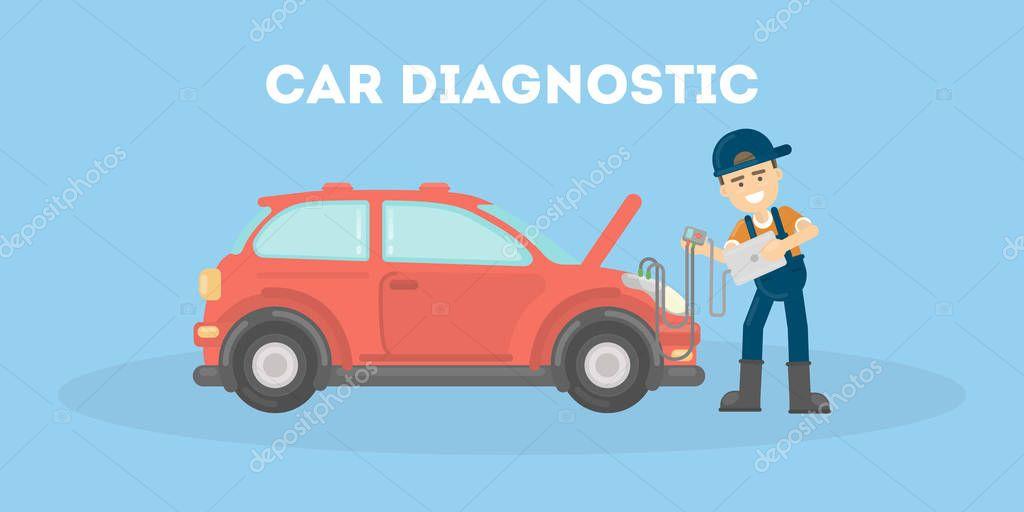 Car diagnostic in service center.