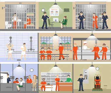Jail interior set.