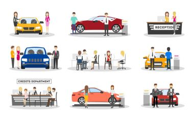 Automobile showroom set.