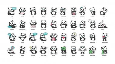 cute panda, stickers collection, in different poses, different moods
