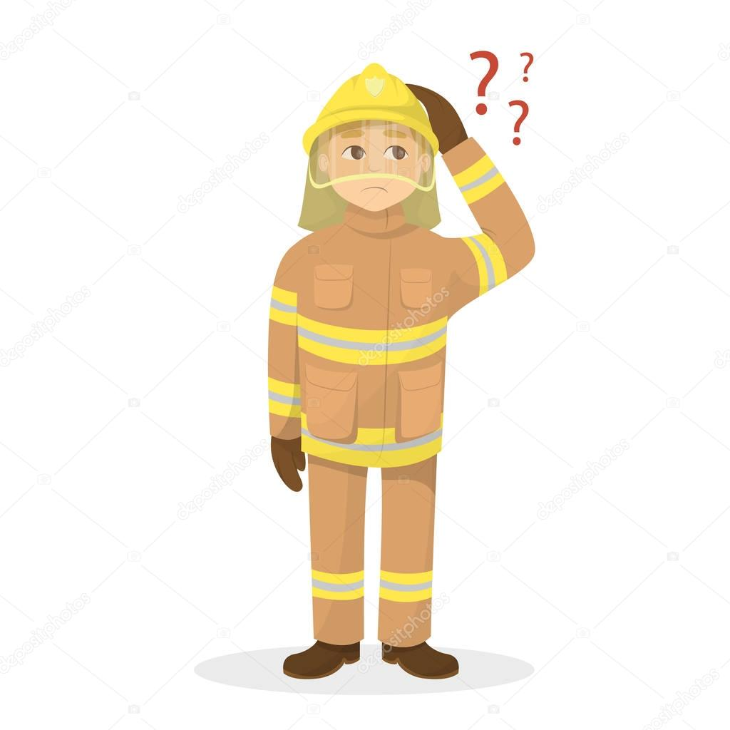 Isolated confused fireman.