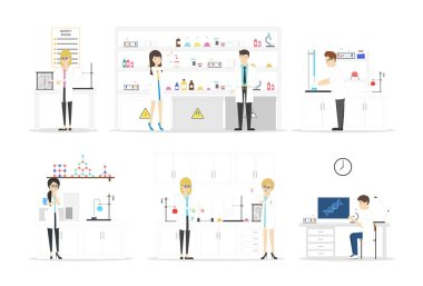 Isolated laboratory set on white background. Biologists and chemists developing new things. stock vector