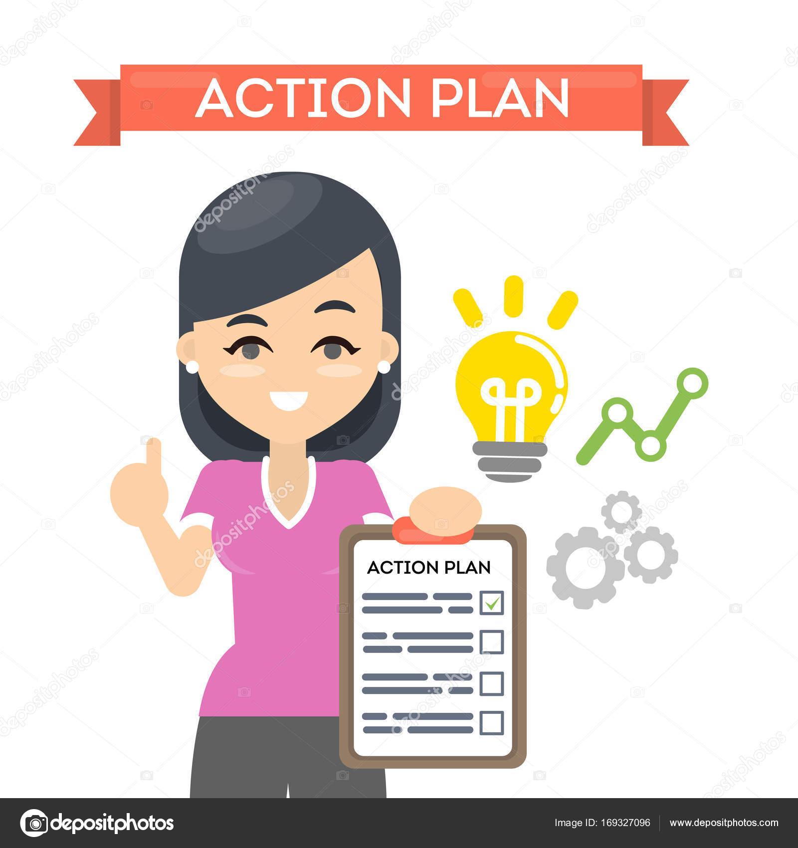 Mulher com o plano de acção — Vetores de Stock © inspiring ...