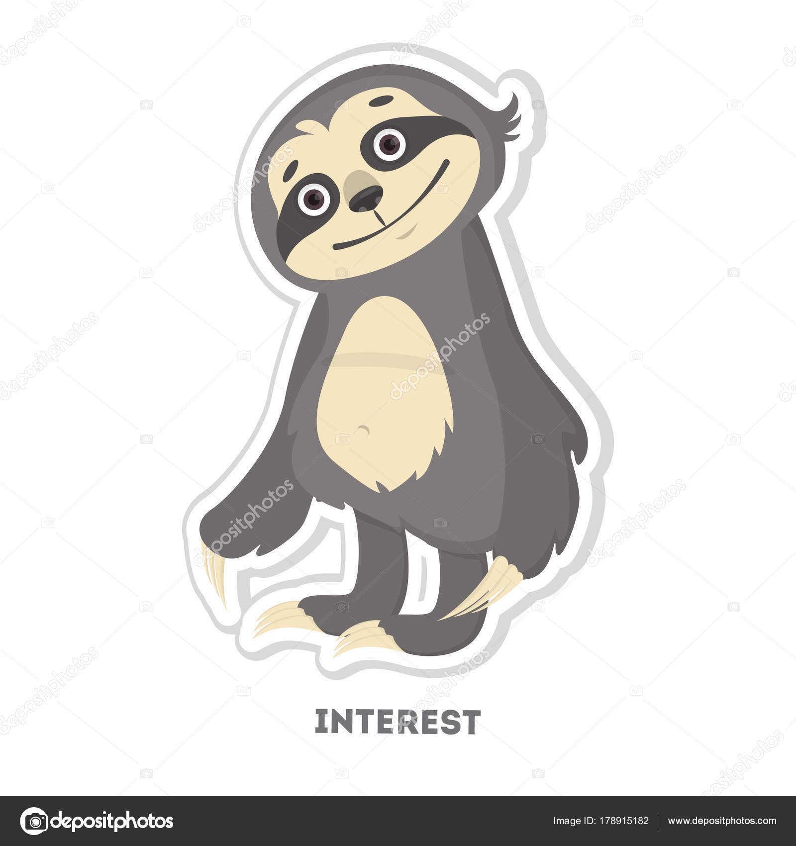 Interested sloth sticker stock vector