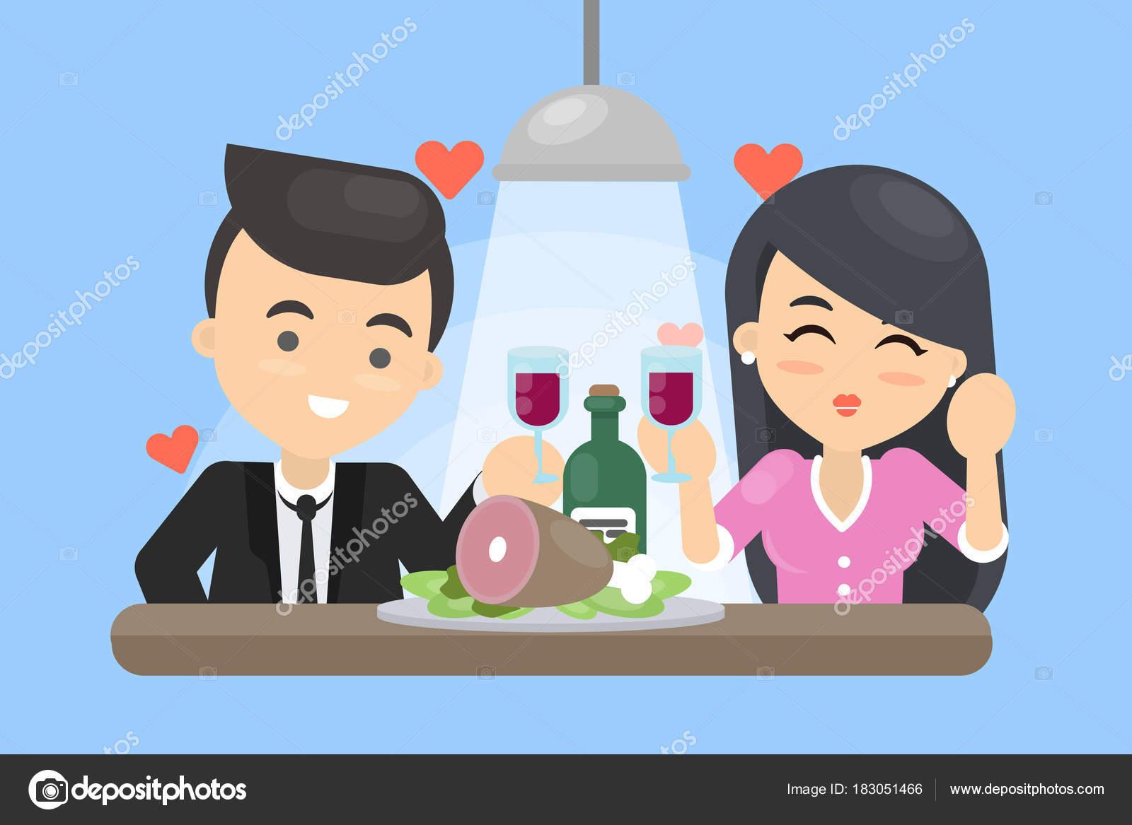 ロマンチックなデートのカップルは — ストックベクター © inspiring
