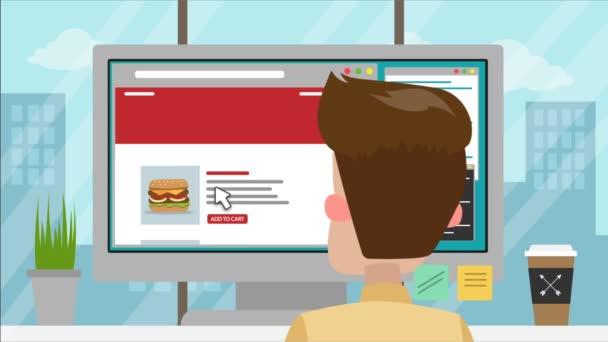 Karikatura člověka v kanceláři chce jíst, objednává jídlo na webu, kuchař připravuje jídlo, kurýr přináší to, člověk je spokojený, položí hodnocení. Obědy a večeře
