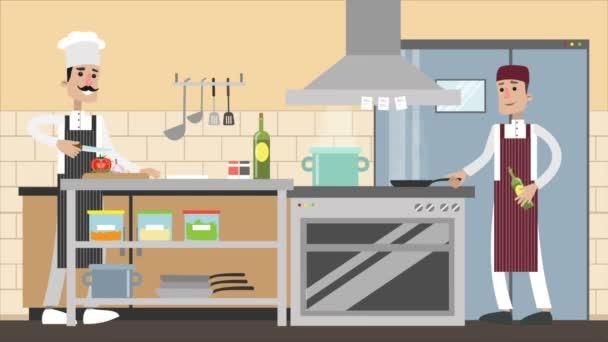 Vařit v kuchyni, kuchař vaří na sporáku, kreslený záběry.