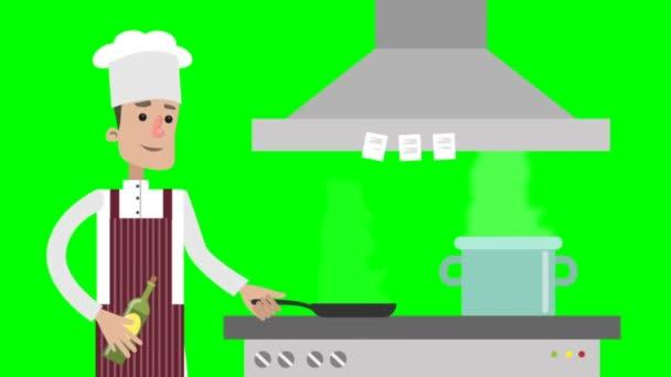 Karikatur männlicher Koch bereitet Essen zu.