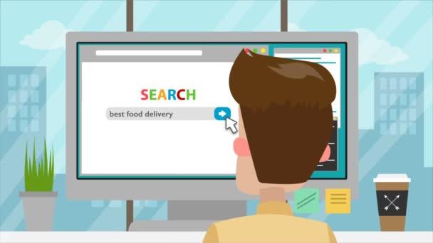 Mann bestellt Lebensmittel online.